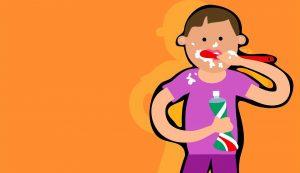Alimentos para unos dientes fuertes y sanos. Niño cuidando su salud dental